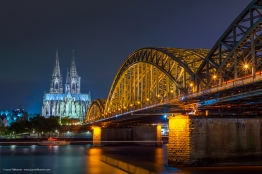 CATHEDRAL AND BRIDGE. COLOGNE, GERMANY.