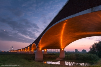 BRIDGE AFTER SUNSET. NIJMEGEN, NETHERLANDS.