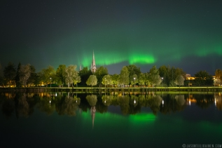 Northern lights over Joensuu