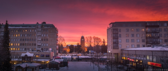 ''SUNSET FROM THE ART MUSEUM WINDOW''. Joensuu, Finland.