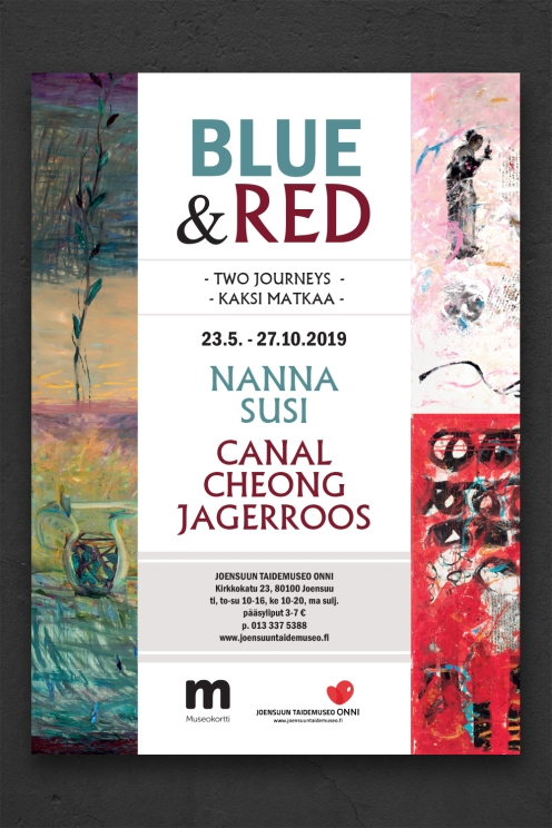 POSTER DESIGN. BLUE & RED ART EXHIBITION. JOENSUU, FINLAND.