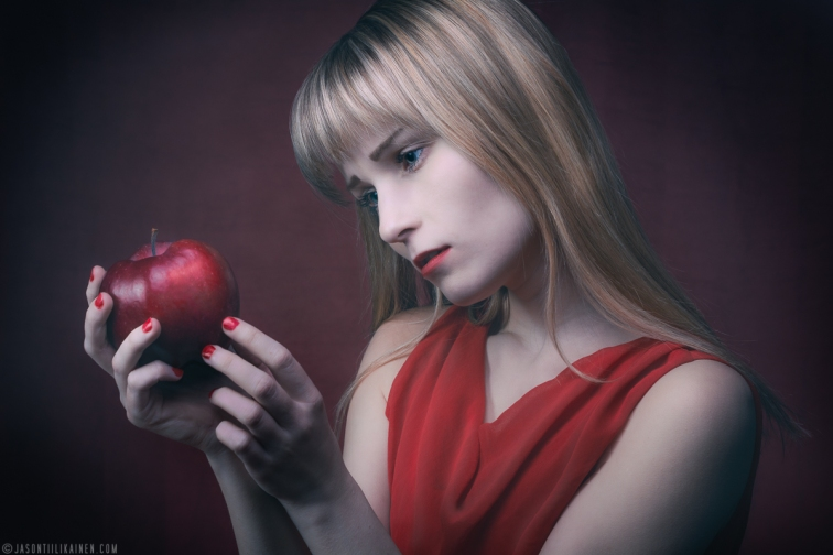 ''RED APPLE PORTRAIT II''. Model: Rosa Summanen. Joensuu, Finland.