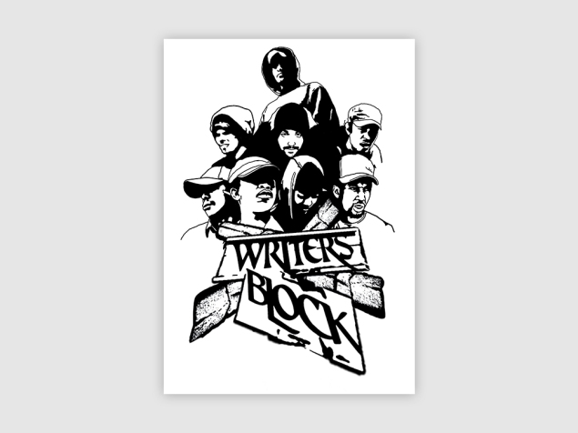 POSTER DESIGN FOR WRITERS BLOCK HIP HOP CREW. SOUTH AFRICA.