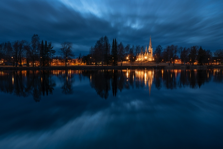 ''JOENSUU CHURCH AT NIGHT''. Joensuu, Finland.